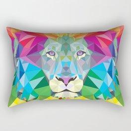 Geometric Rainbow Lion Rectangular Pillow