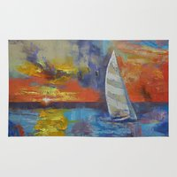sailboat Area & Throw Rugs featuring Sailboat by Michael Creese