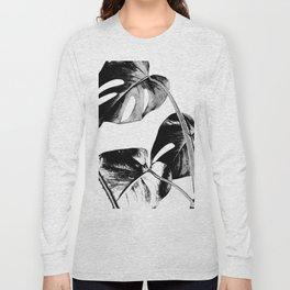 Black monstera leaves watercolor Long Sleeve T-shirt