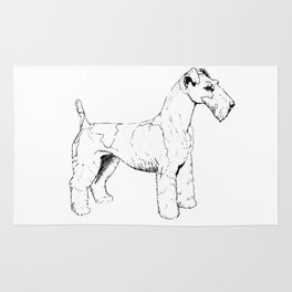 Wire Haired Fox Terrier Ink Drawing Rug