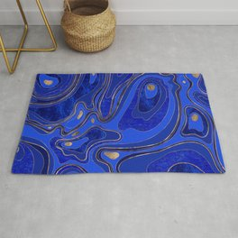 Marble Map - blue and gold Rug