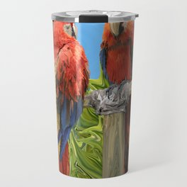Scarlet Macaw Parrots Perching Travel Mug