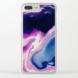 Oysters, acrylic pouring medium Clear iPhone Case