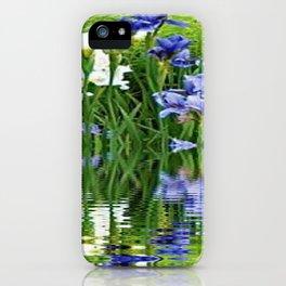 BLUE & WHITE IRIS WATER REFLECTION ART iPhone Case