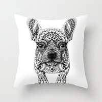 frenchie Throw Pillows featuring Frenchie by BIOWORKZ