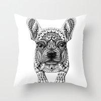 bioworkz Throw Pillows featuring Frenchie by BIOWORKZ
