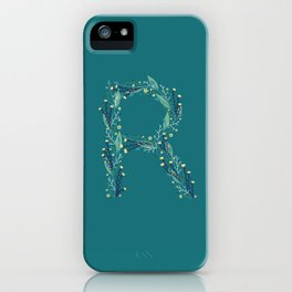 Turquoise flowers alphabet R iPhone Case