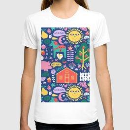 Happy Swedish Farm in Navy T-shirt