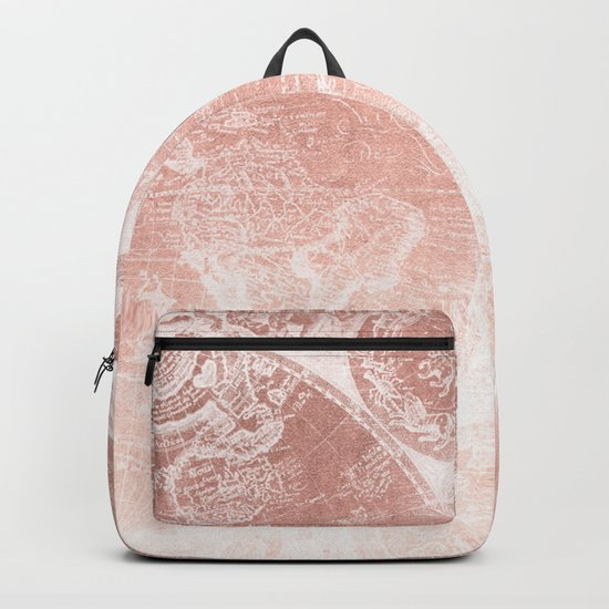 Antique World Map White Rose Gold Backpack