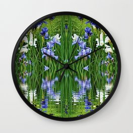 PURPLE IRIS WATER GARDEN  REFLECTION Wall Clock