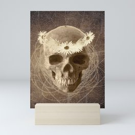 Skull Human Vintage Flowers Digital Collage 2 Mini Art Print