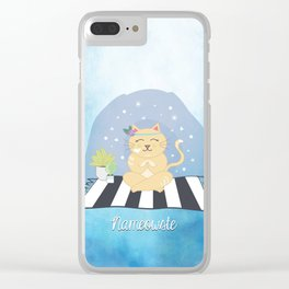 Nameowste Yoga Cat Clear iPhone Case