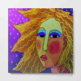 Woman with Wild Hair Abstract Digital Painting  Metal Print