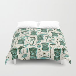 Tropical Tiki - Cream & Aqua Duvet Cover