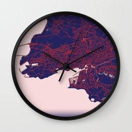 La Rochelle, France, Blue City Map Wall Clock