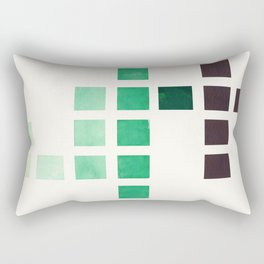 Colorful Teal Turquoise Deep Green Mid Century Modern Minimalist Square Geometric Pattern Rectangular Pillow