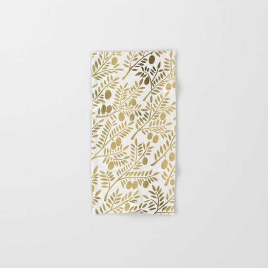 Gold Olive Branches Hand & Bath Towel