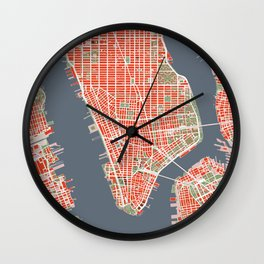 New York city map classic Wall Clock