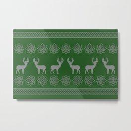 Reindeer Stripes Christmas pattern - green Metal Print