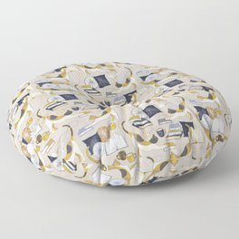 A Comforting Cup of Coffee in The Cozy Company of Cats - Caturday Reading Floor Pillow