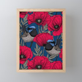 Fairy wren and poppies Framed Mini Art Print
