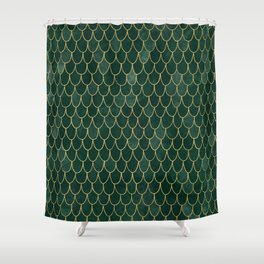 Mermaid Fin Pattern // Emerald Green Gold Glittery Scale Watercolor Bedspread Home Decor Shower Curtain