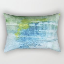Blue green colored wash drawing Rectangular Pillow
