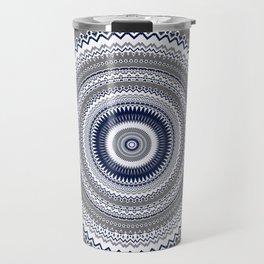 Navy Blue Grey Bohemian Mandala Travel Mug