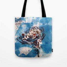 Blue Rose Mono Print Tote Bag