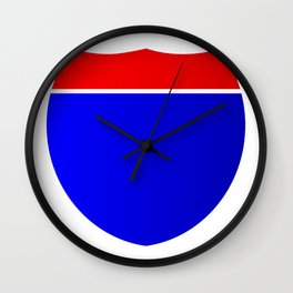 Interstate Shield Sign Wall Clock