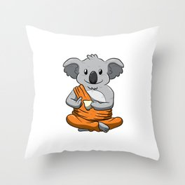 Buddha Koala Drinking Tea Shirt Meditation Peaceful Animal Throw Pillow