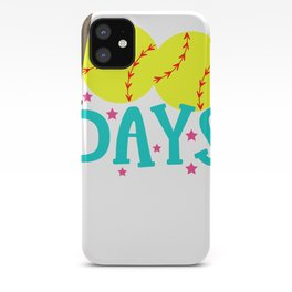 Best 100th Day of School Softball 100 Days of Home Runs iPhone Case