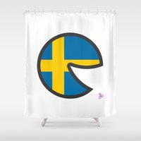 sweden Shower Curtains featuring Sweden Smile by onejyoo