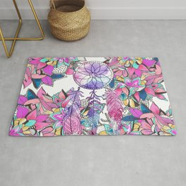 Colorful magenta teal watercolor dream catcher floral Rug