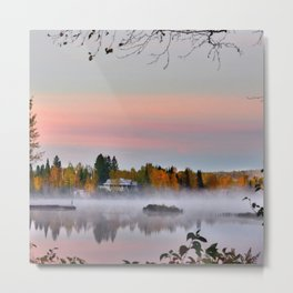 Canada Photography - Steam Fog Over The Lake Metal Print