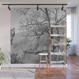 Mistery foggy mountains. BW. Into the woods Wall Mural