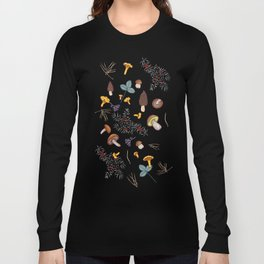 dark wild forest mushrooms Long Sleeve T-shirt