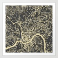 cincinnati Art Prints featuring Cincinnati map by Map Map Maps