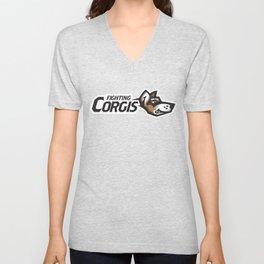 Fighting Corgis Full Logo Unisex V-Neck