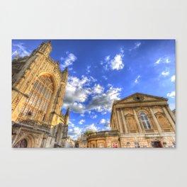 Bath Abbey And Roman Baths Canvas Print