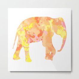Indian elephant. Drawing by hand in vintage style. Metal Print