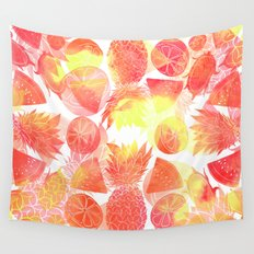 Tropical Fruit Print Wall Tapestry