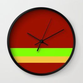 Solid Chestnut Red w/ Lime Green and Solid Light Orange Divider Lines Wall Clock