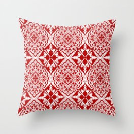 BOHEMIAN PALACE, ORNATE DAMASK: RED and WHITE Throw Pillow
