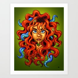 Tentacle Hair Lady- red Art Print