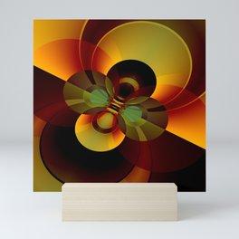 Brown and Gold Circles Geometric Abstract Mini Art Print