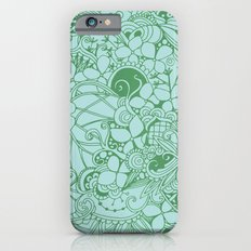 Blue square, green floral doodle, zentangle inspired art pattern Slim Case iPhone 6s