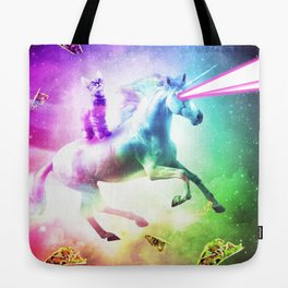 Space Cat Riding Unicorn - Laser, Tacos And Rainbow Tote Bag