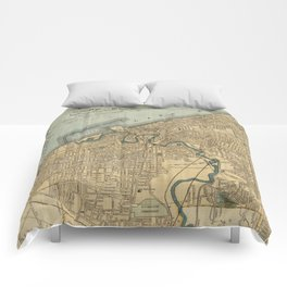 Vintage Map of Cleveland OH (1894) Comforters