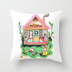 Rebecca Rabbit, Her House, and Her Belongings Throw Pillow